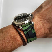 24mm Green Camo Rubber Strap
