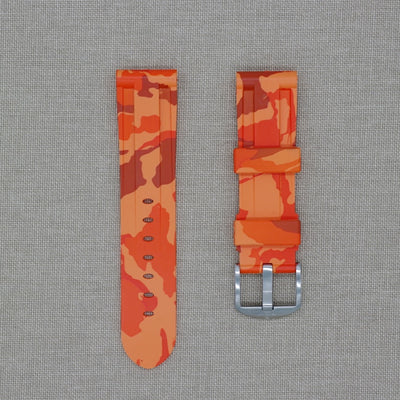 24mm Orange Camo Rubber Strap