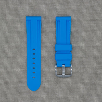 24mm Blue Marbella Rubber Strap