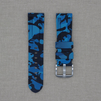 24mm Blue Camo Rubber Strap