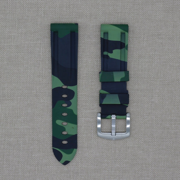 22mm Dark Green Camo Rubber Strap