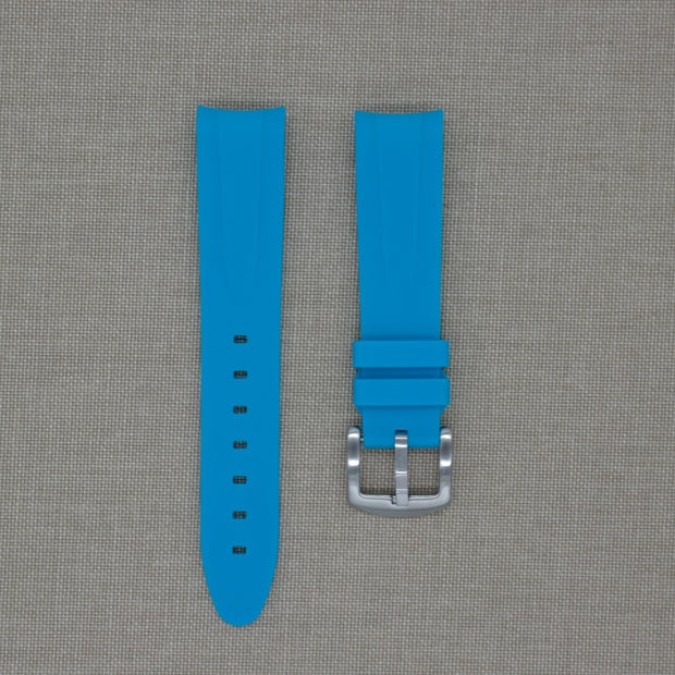 20mm Curved Ended Blue Marbella Rubber Strap