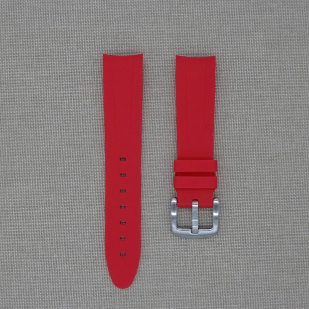 20mm Curved Ended Red Rubber Strap
