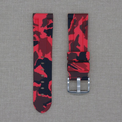 22mm Red Camo Rubber Strap