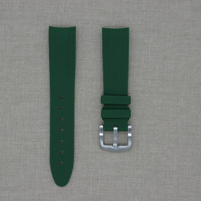 20mm Curved Ended Green Olive Rubber Strap
