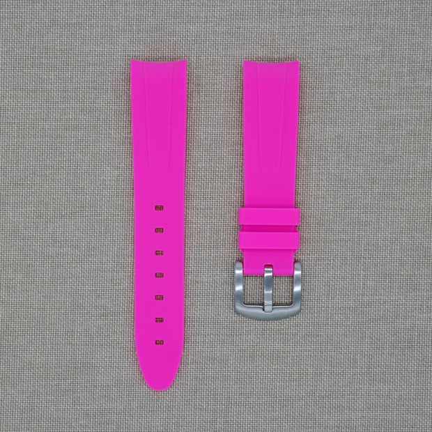 Limited Edition 20mm Curved Ended Pink Rubber Strap
