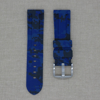 22mm Blue Digital Camo Rubber Strap