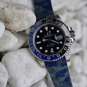 20mm Curved Ended Blue Digi Camo Rubber Strap