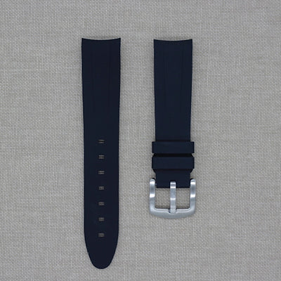 20mm Curved Ended Black Rubber Strap