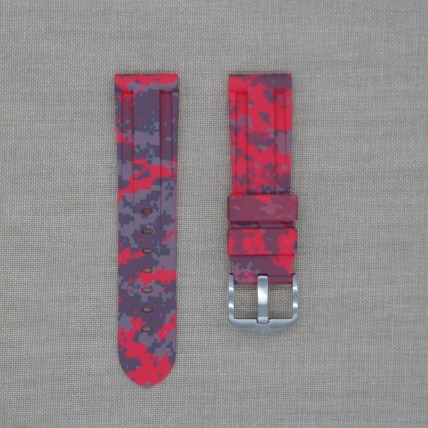 Red Digital Camo Rubber Strap -iwatch-