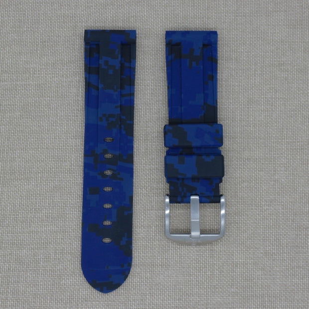 24mm Blue Digital Camo Rubber Strap