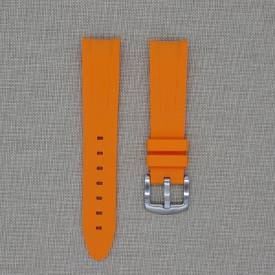 20mm Curved Ended Orange Rubber Strap