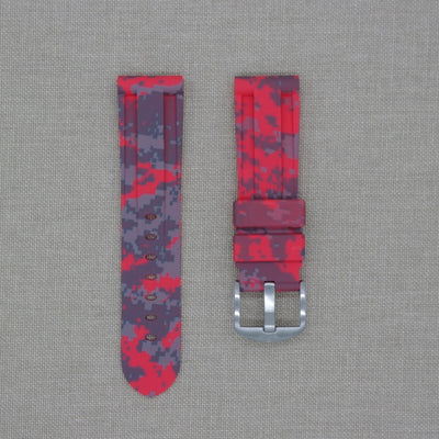 24mm Red Digi Camo Rubber Strap