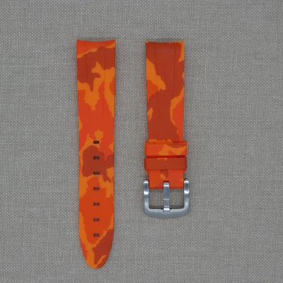 20mm Curved Ended Orange Camo Rubber Strap