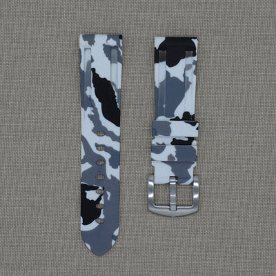22mm White Camo Rubber Strap