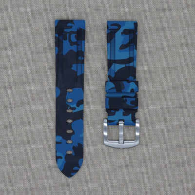 22mm Blue Camo Rubber Strap