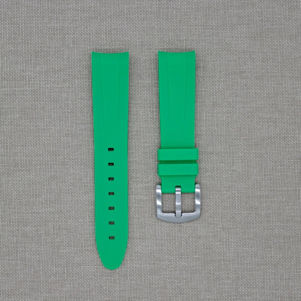 20mm Curved Ended Green Fluor Rubber Strap