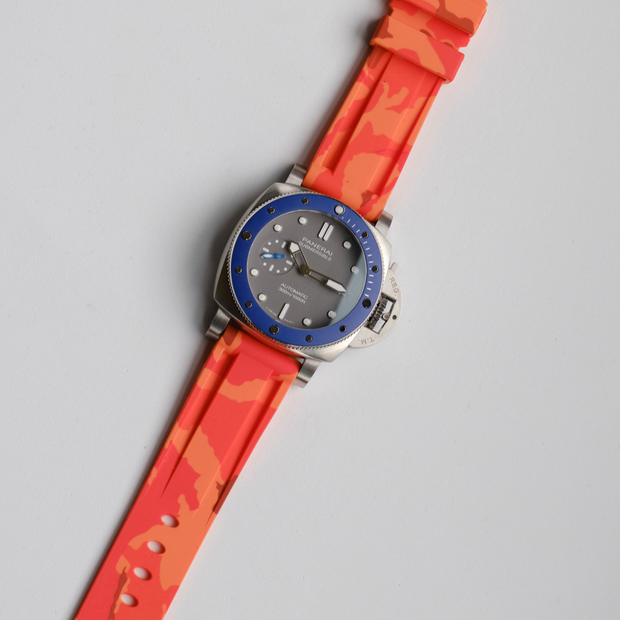 22mm Orange Camo Rubber Strap