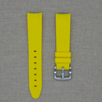 20mm Curved Ended Yellow Lemon Rubber Strap