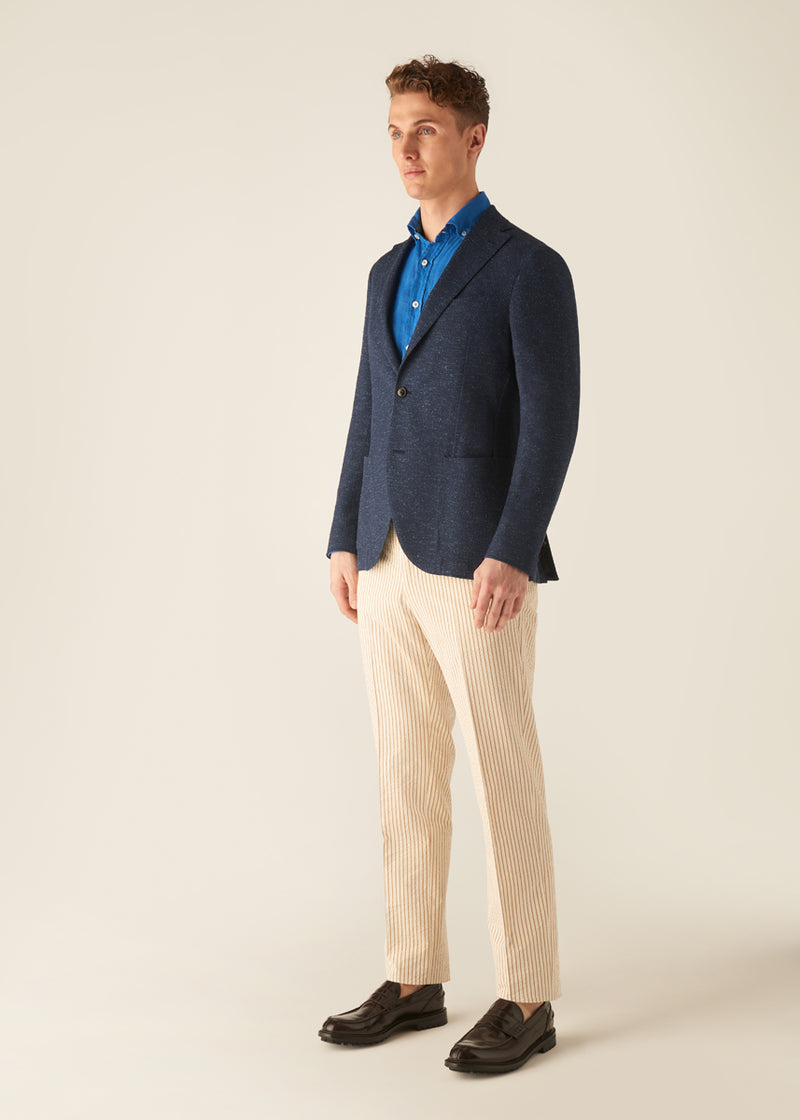 JOHNNY - Navy Fleck Twill Jacket