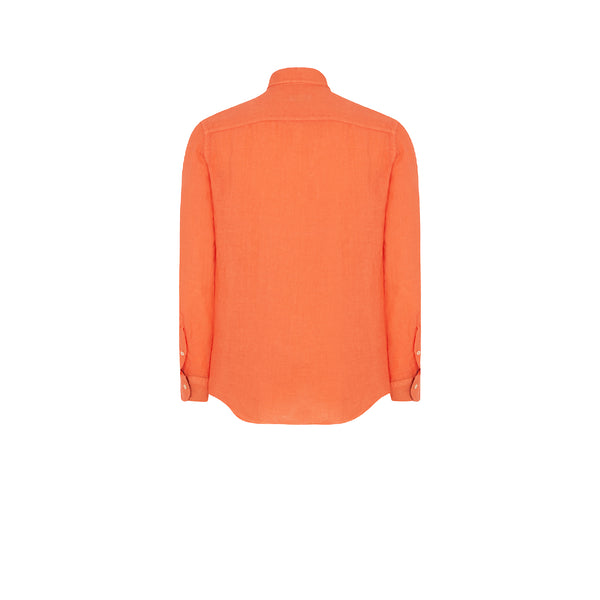 TANGERINE ORANGE LINEN SHIRT