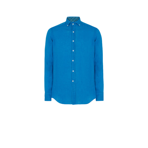 AZURE BLUE LINEN SHIRT