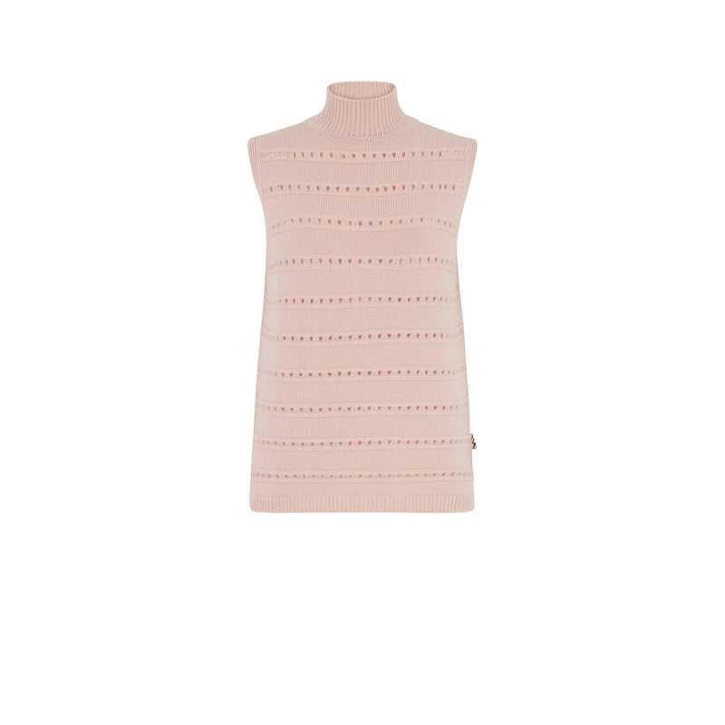 POINTELLE STITCH SLEEVELESS JUMPER
