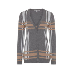 ANNIVERSARY CHECK  V-NECK CARDIGAN
