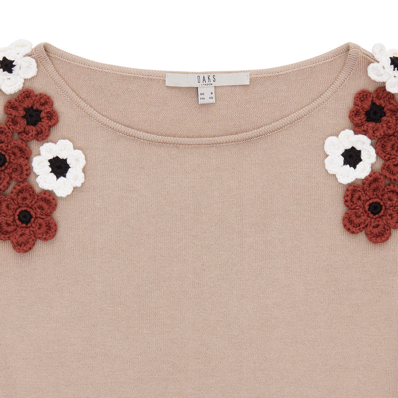 CREW NECK JUMPER WITH CROCHET FLOWERS