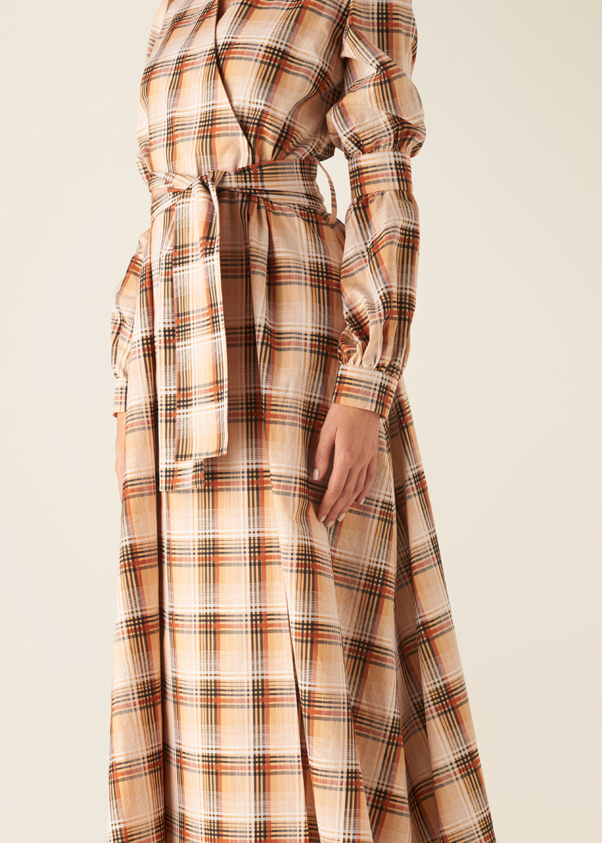 UTILITY CHECK WRAP DRESS