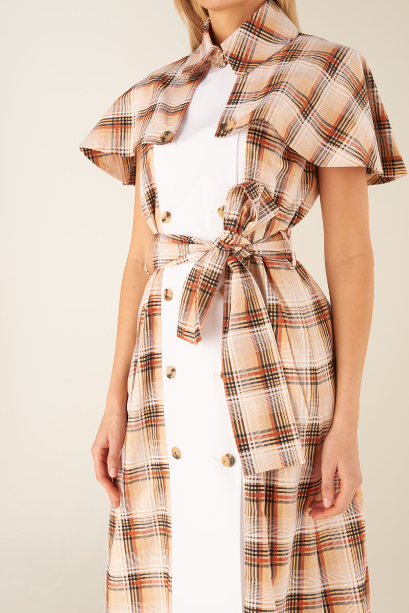 UTILITY CHECK TRENCH DRESS