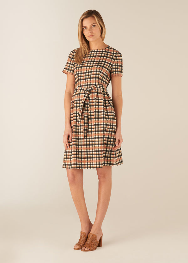 UTILITY CHECK BELTED DRESS