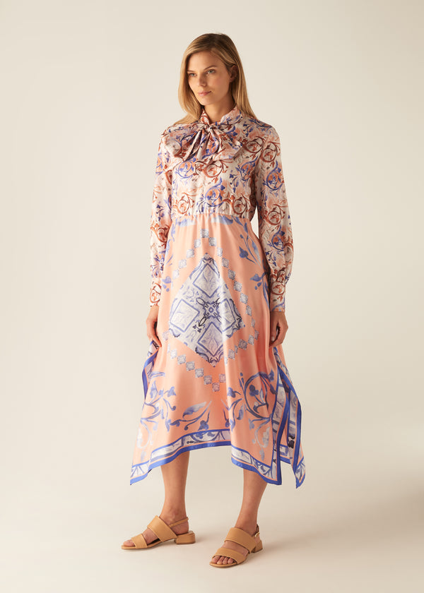 BAROQUE PRINT FOULARD DRESS