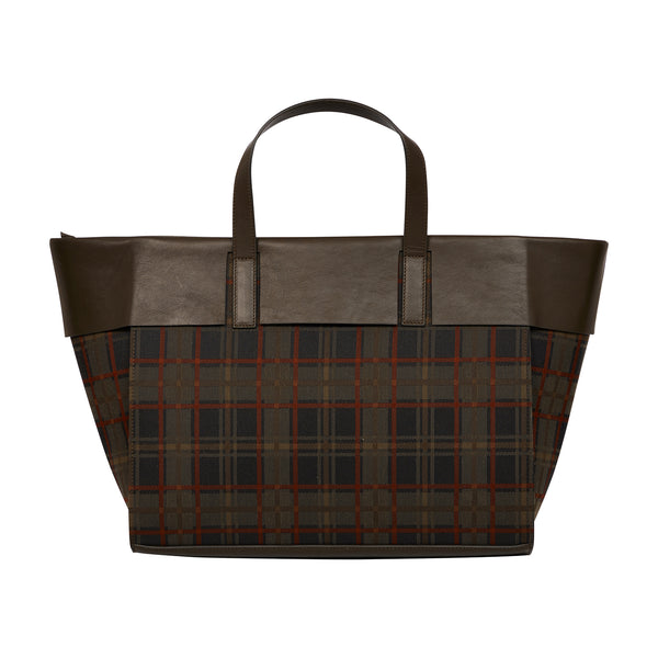 TARTAN CHECK WATERPROOF WIDE TOTE