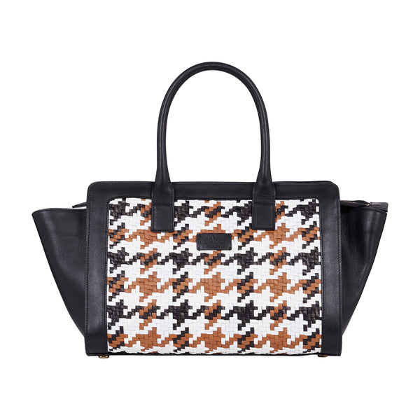WOVEN TRANSFIGURED CHECK TOP HANDLE BAG
