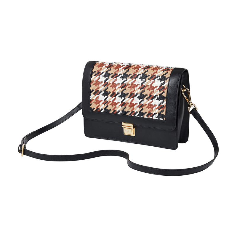 WOVEN TRANSFIGURED CHECK  CROSSBODY BAG
