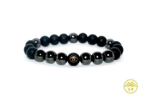 bracelet enfant pierres naturelles hématite onyx noir umea Protection force charance stone 1point9