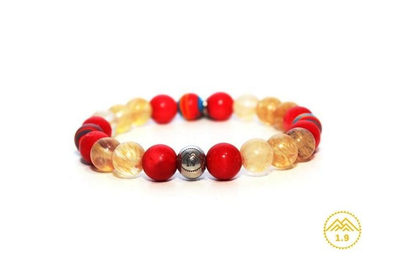 bracelet pierres naturelles corail rouge citrine feria baiona 1point9