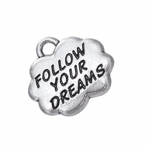 breloque pendentif métal argent follow your dreams 1point9