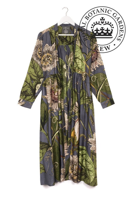 One Hundred Stars Passion Flower Green Kimono