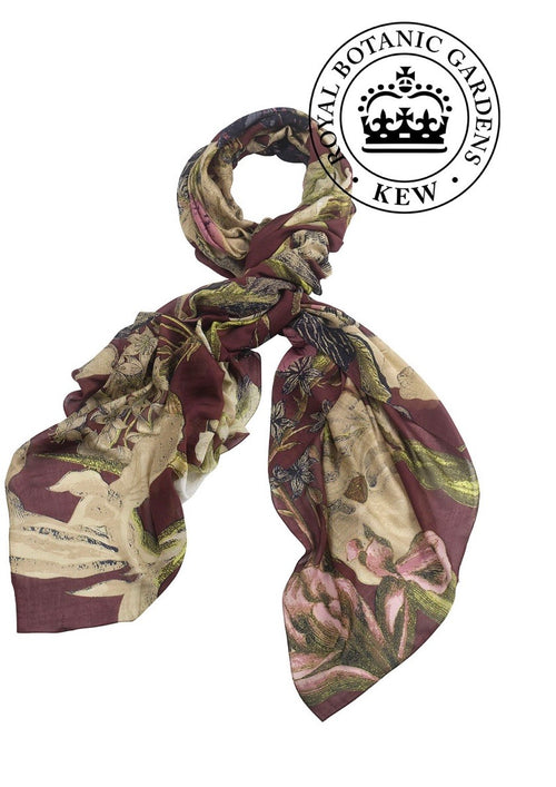 one hundred stars kew royal botanic gardens iris burgundy scarf