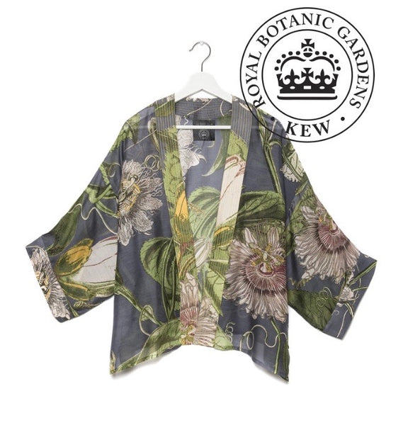 One Hundred Stars Kew Passion Flower Kimono In Grey