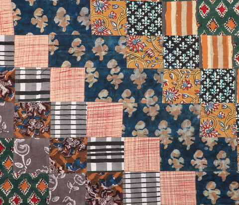 Multicolor Handblock Printed Patchwork Fabric