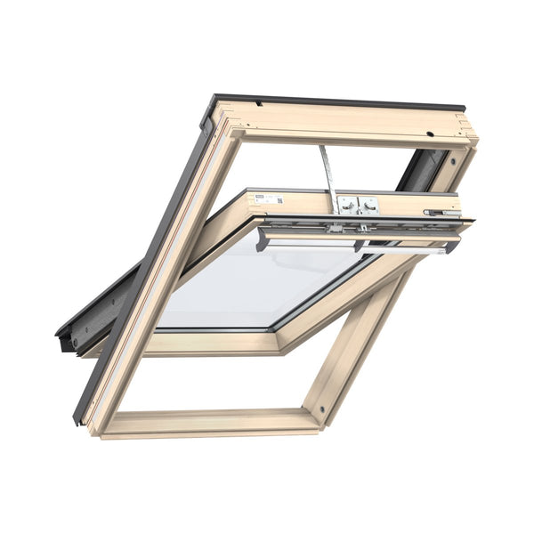 Velux Lacquered Pine Centre Pivot Integra Electric Roof Window