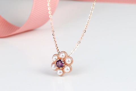 Amethyst Crystal Necklace - Rose Gold