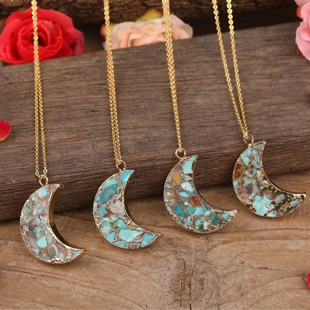 Crystal Turquoise Moon Necklace