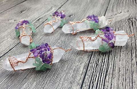 Clear Quartz Gem Tree Necklace