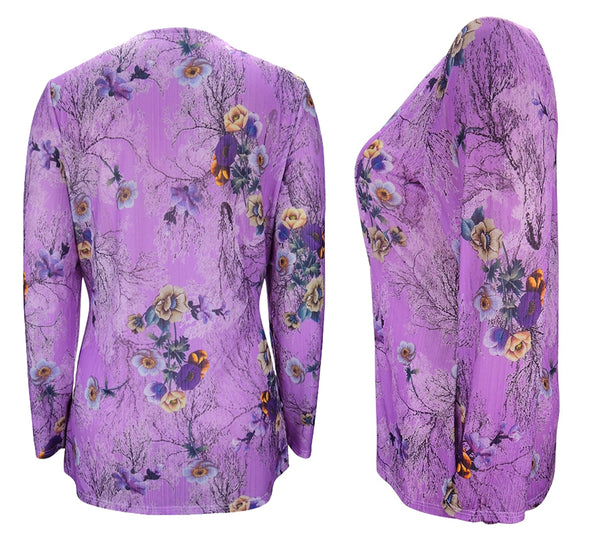 Floral Print Pleated Women's Blouse