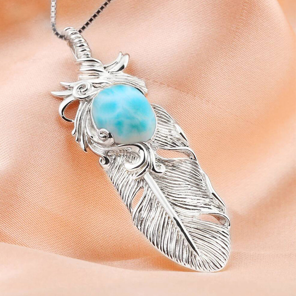 Larimar Feather Necklace