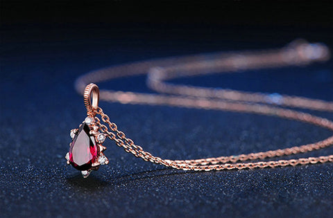 Precious Garnet Teardrop Necklace